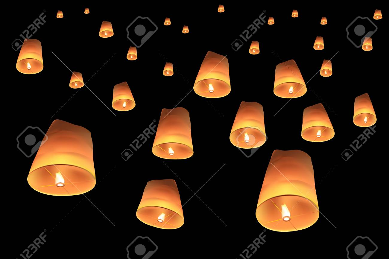 Vector Of Floating Lanterns On Black Background Royalty Free Cliparts Vectors And Stock Illustration Image 119581370