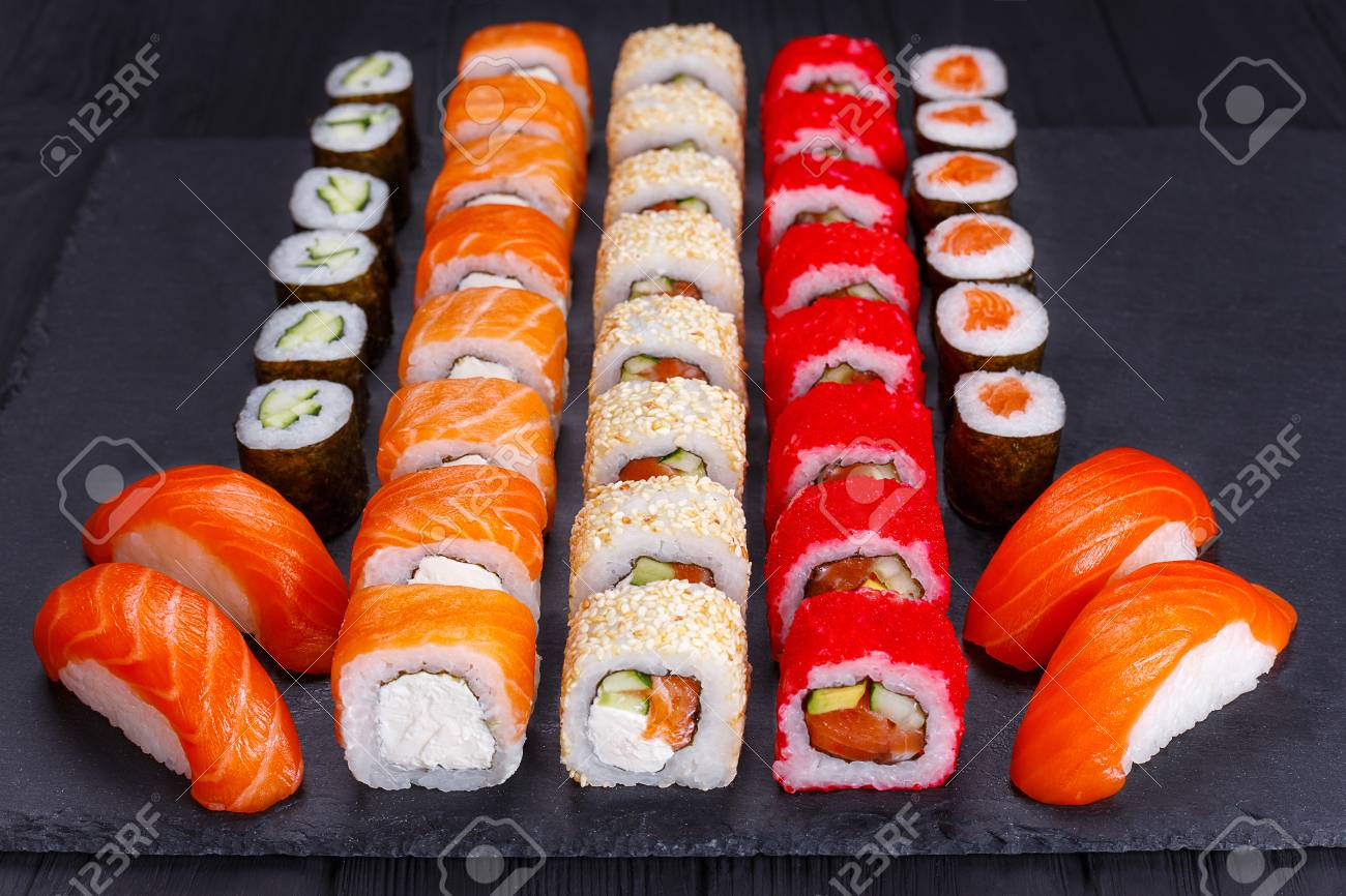 Restaurant Menu Japanese Food Art Appetizing Maki And Nigiri Stock Photo Picture And Royalty Free Image Image 101000062