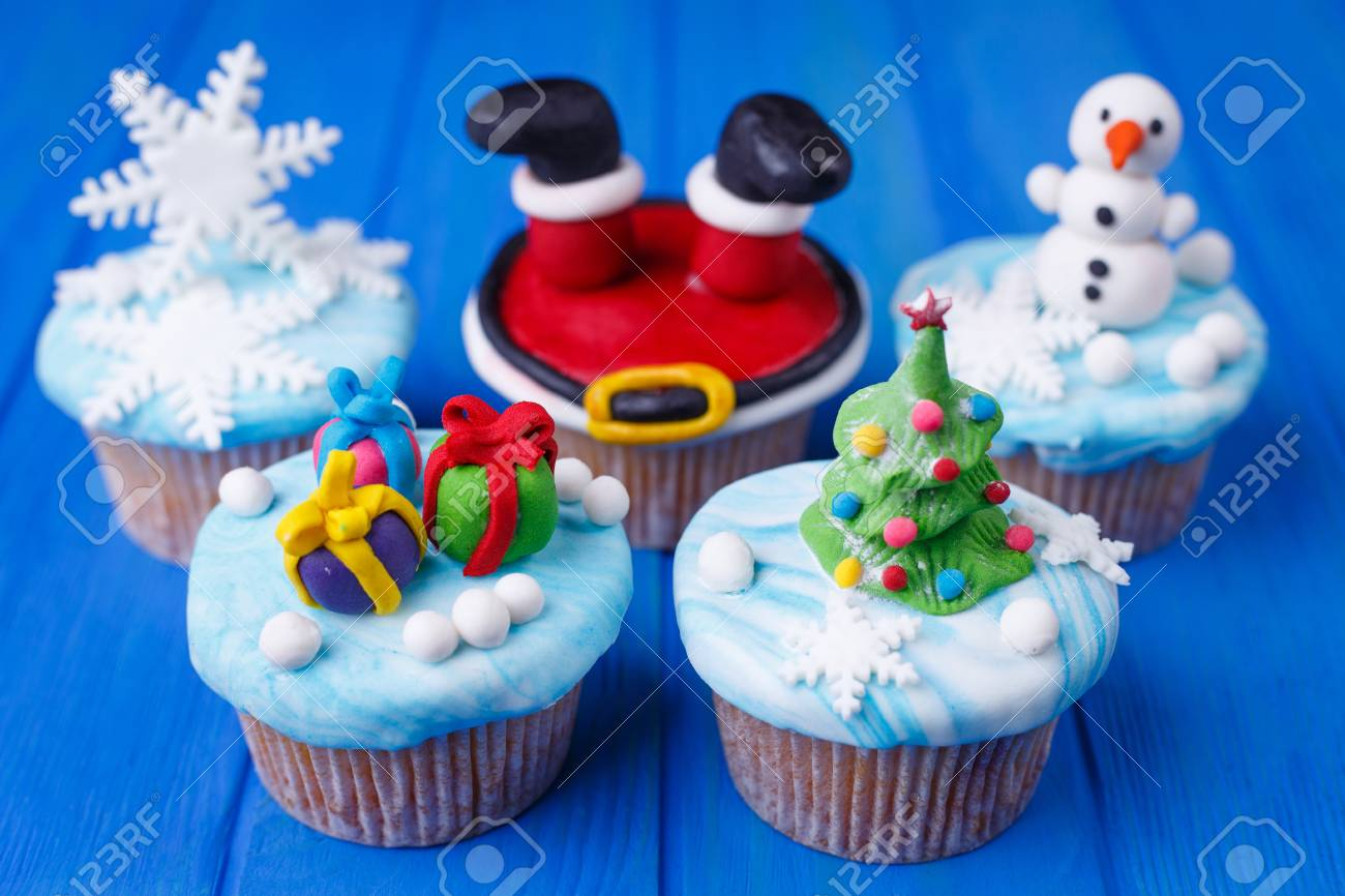 New Year Party Sweets Set Tasty Cupcakes With Bright Decoration
