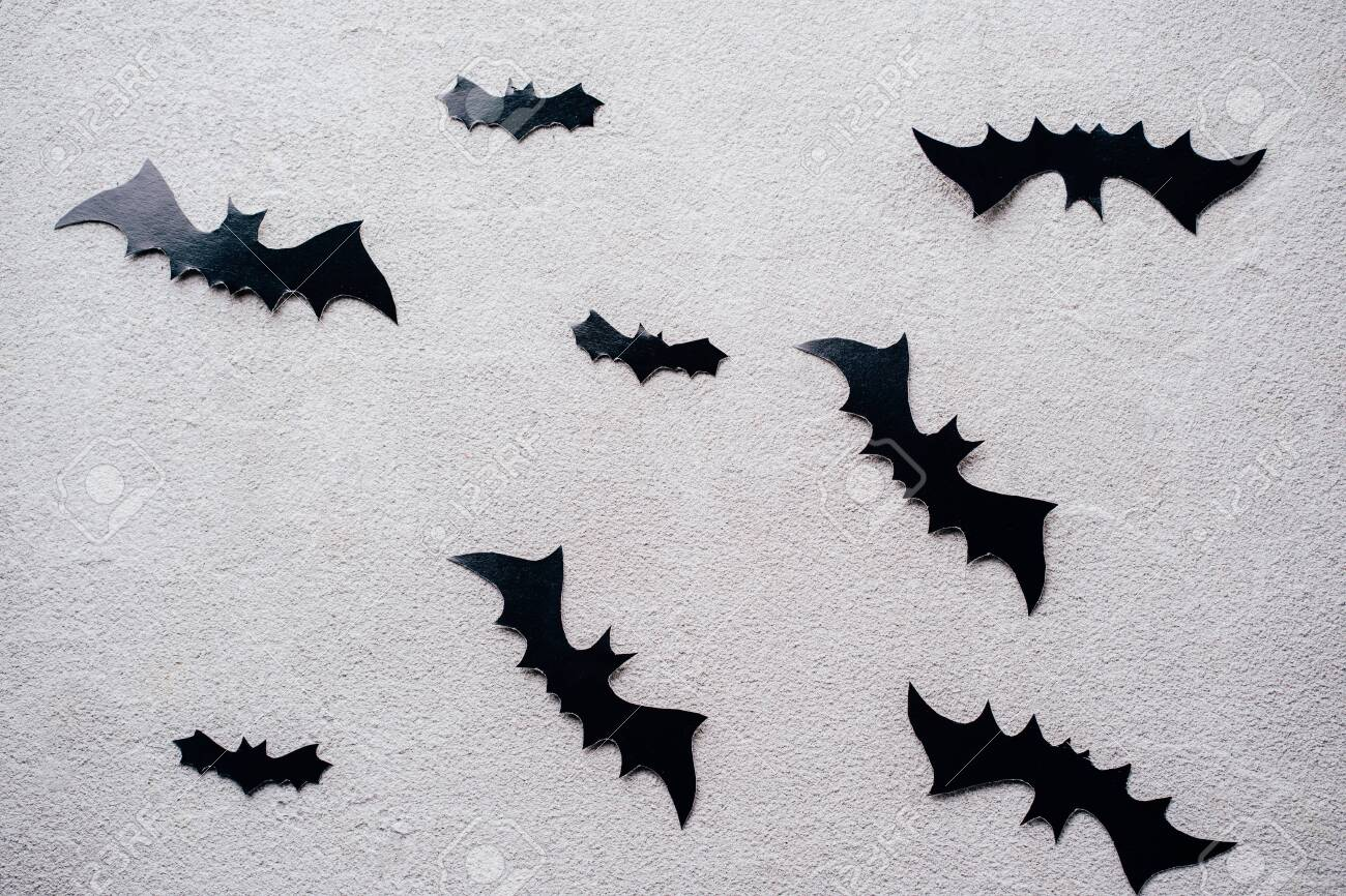 Halloween Background With Paper Bats Decorations