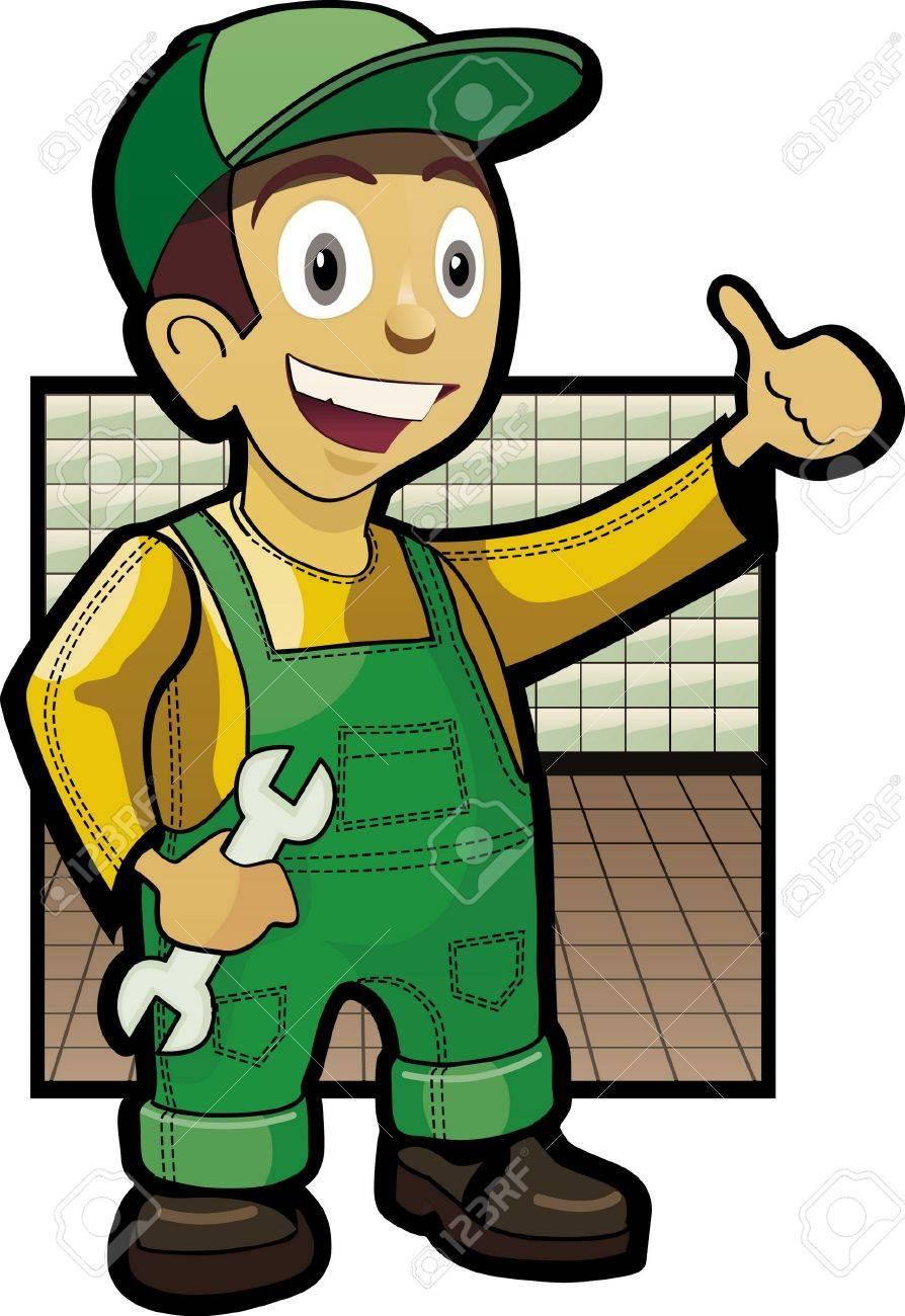 Smiling mechanic holding wrehch Stock Vector - 9591352