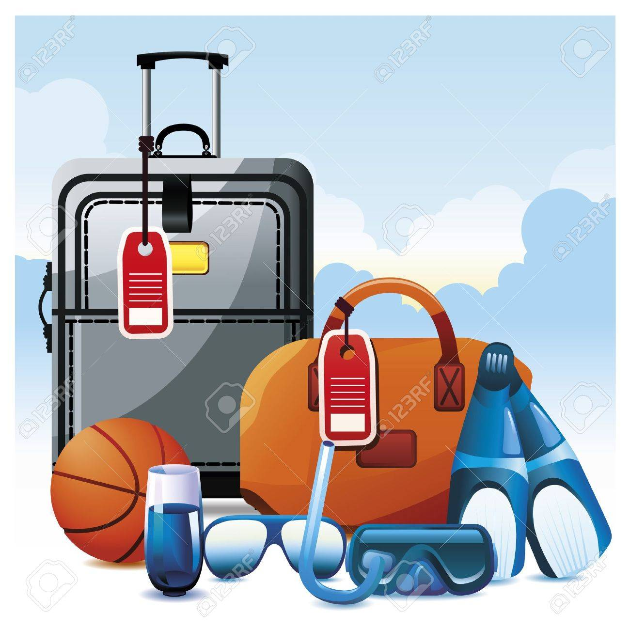 Colorful Vacation Icon Set. Stock Vector - 9808220