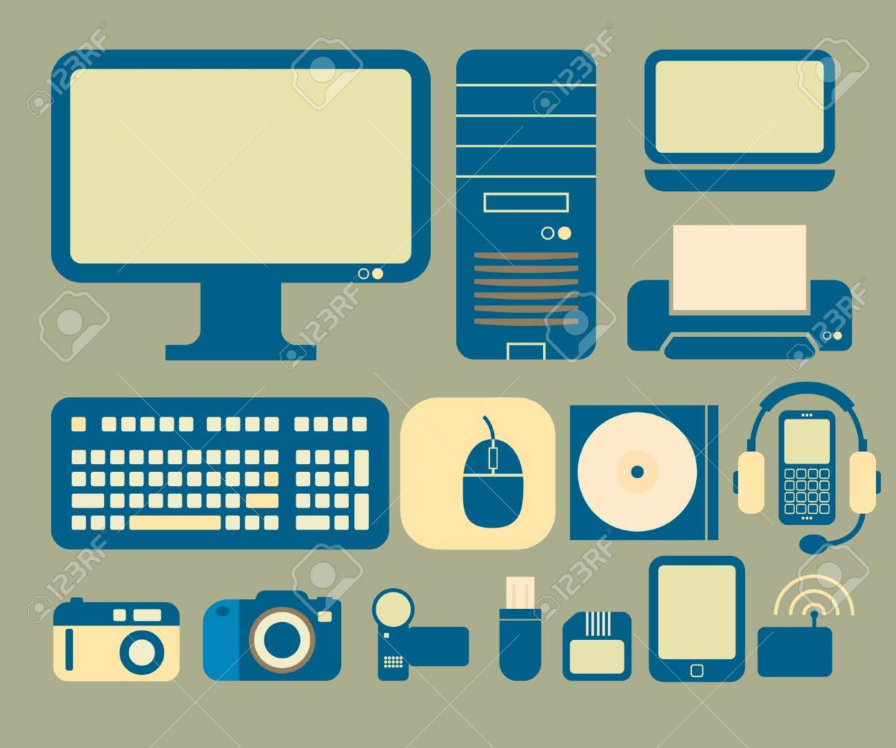 Icons With A Computer And Electronics Theme. Royalty Free Cliparts ...