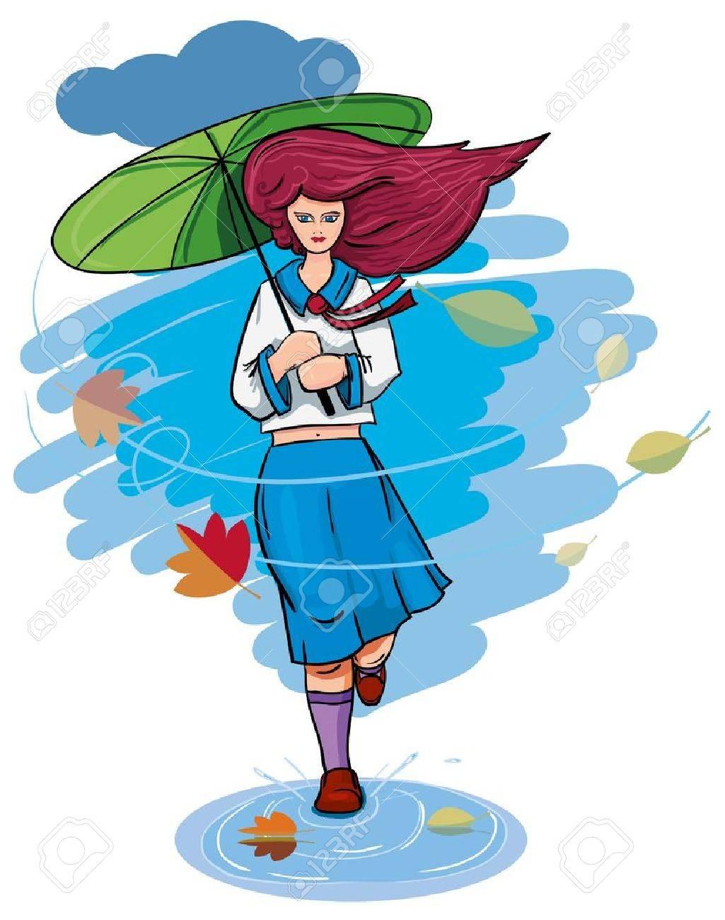 A girl with an umbrella in the rain runs. Stock Vector - 10529906