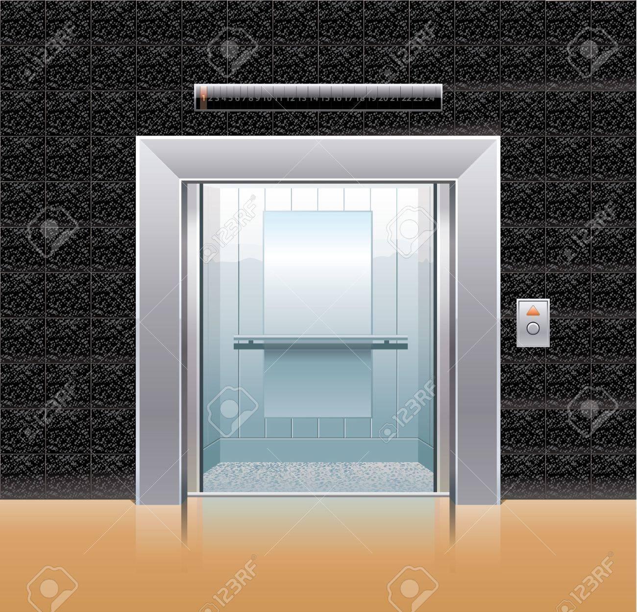 Passenger elevator with opened doors. Stock Vector - 11661291
