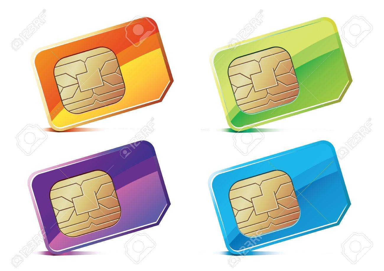 illustration of color SIM Cards. Stock Vector - 11878518