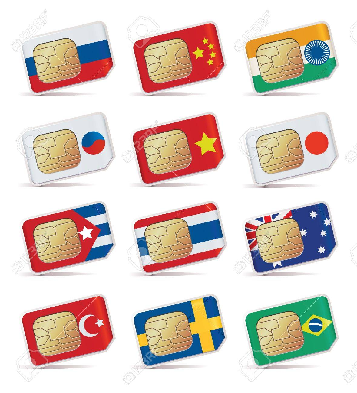illustration of SIM Cards with flags. Stock Vector - 11878530