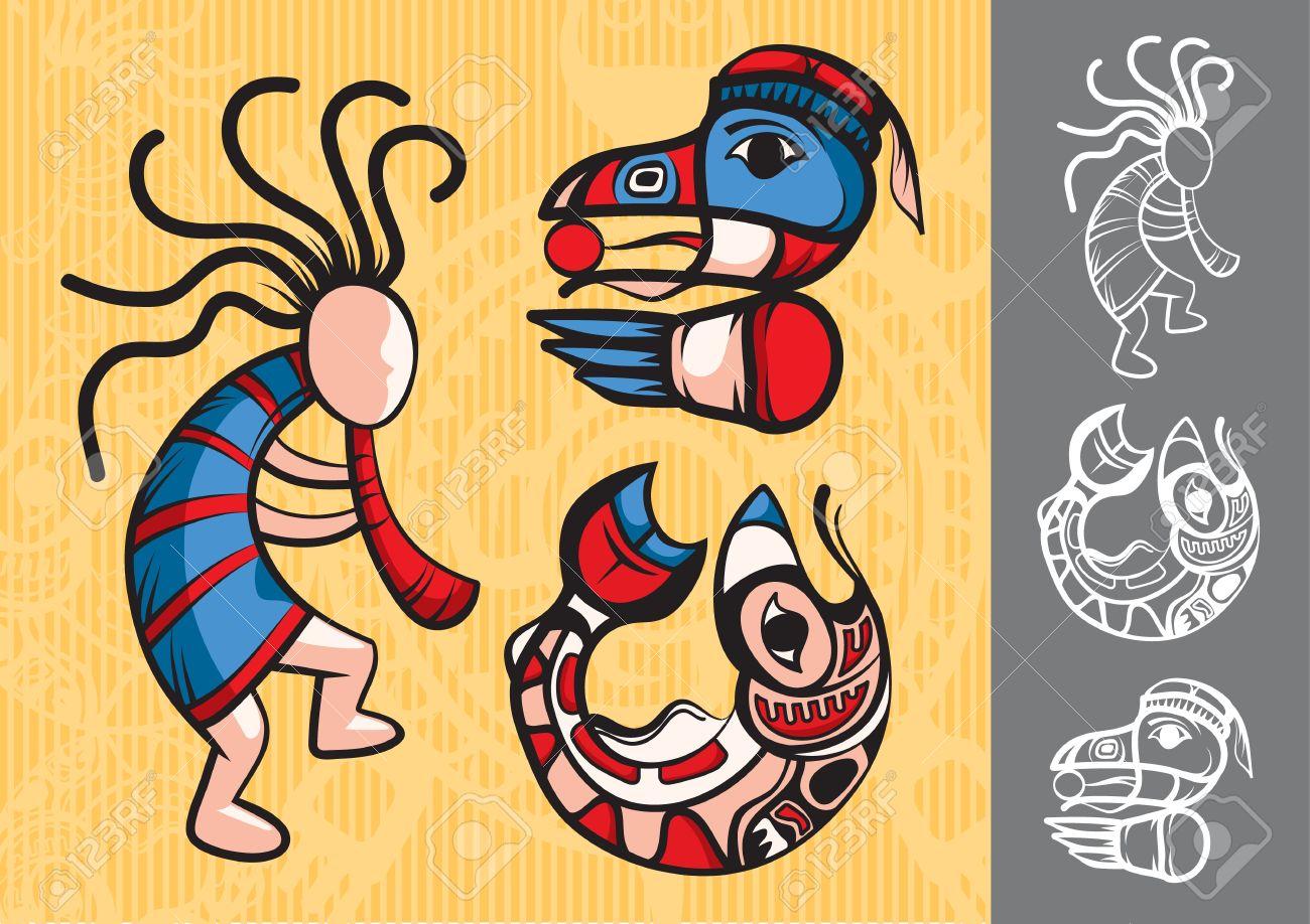 Set Of Stylish American Indian Symbols Royalty Free Cliparts