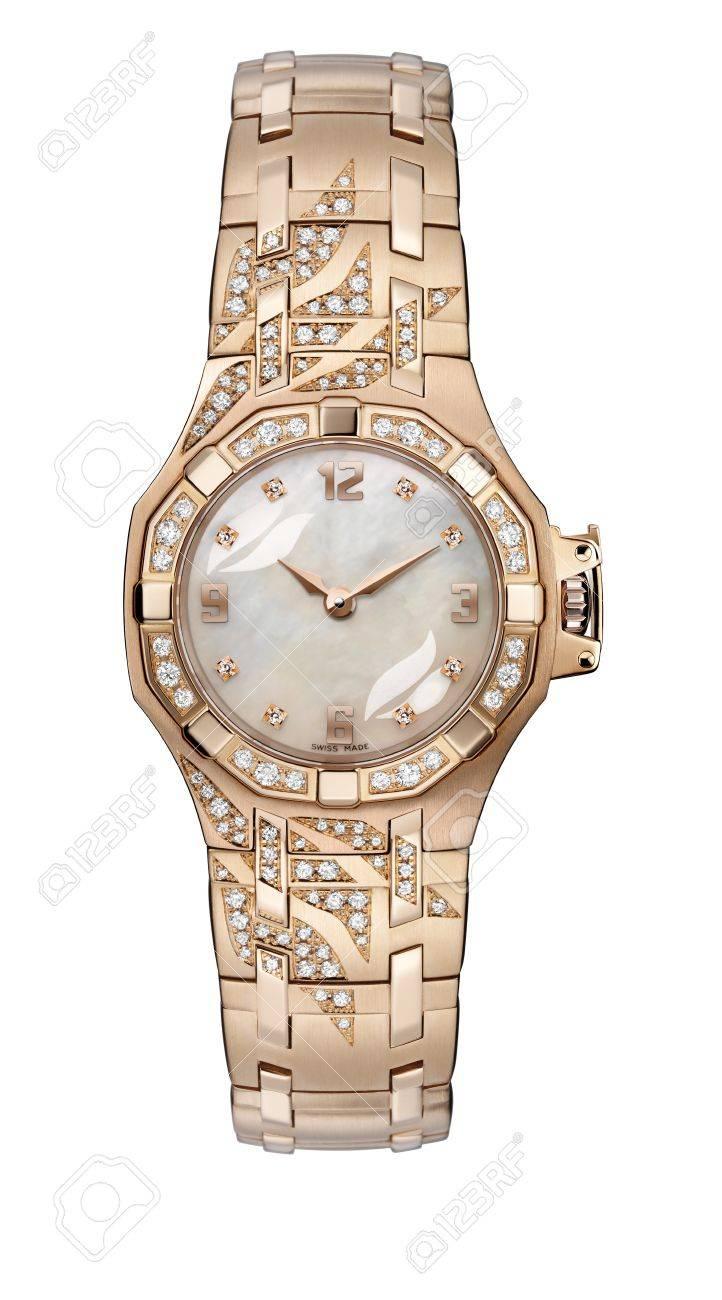 Luxury Ladies gold wrist watch with gold bracelet Stock Photo - 9277515