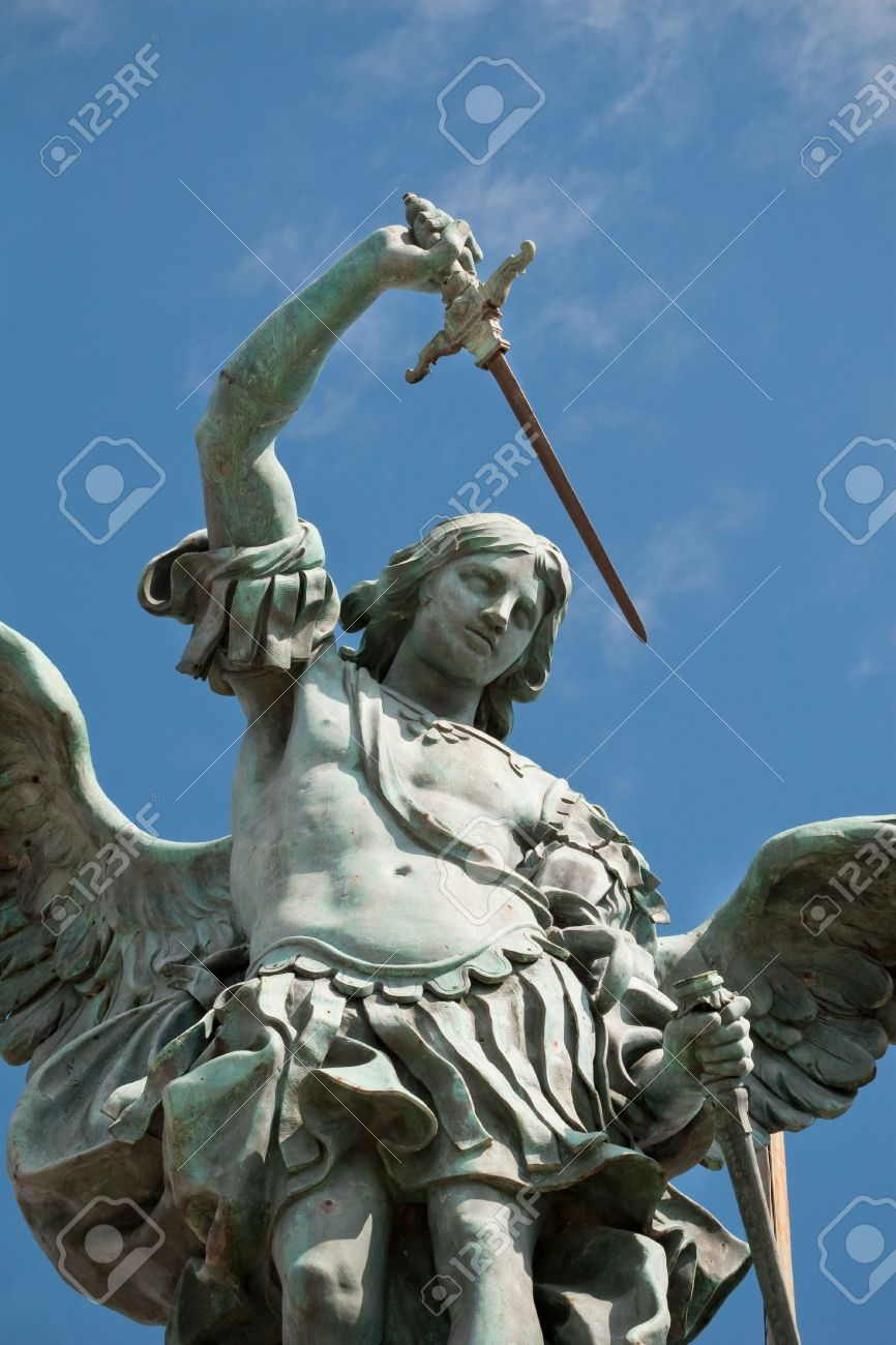 Saint Michael statue on the top of Castel Sant`Angelo in Rome Stock Photo - 6796263