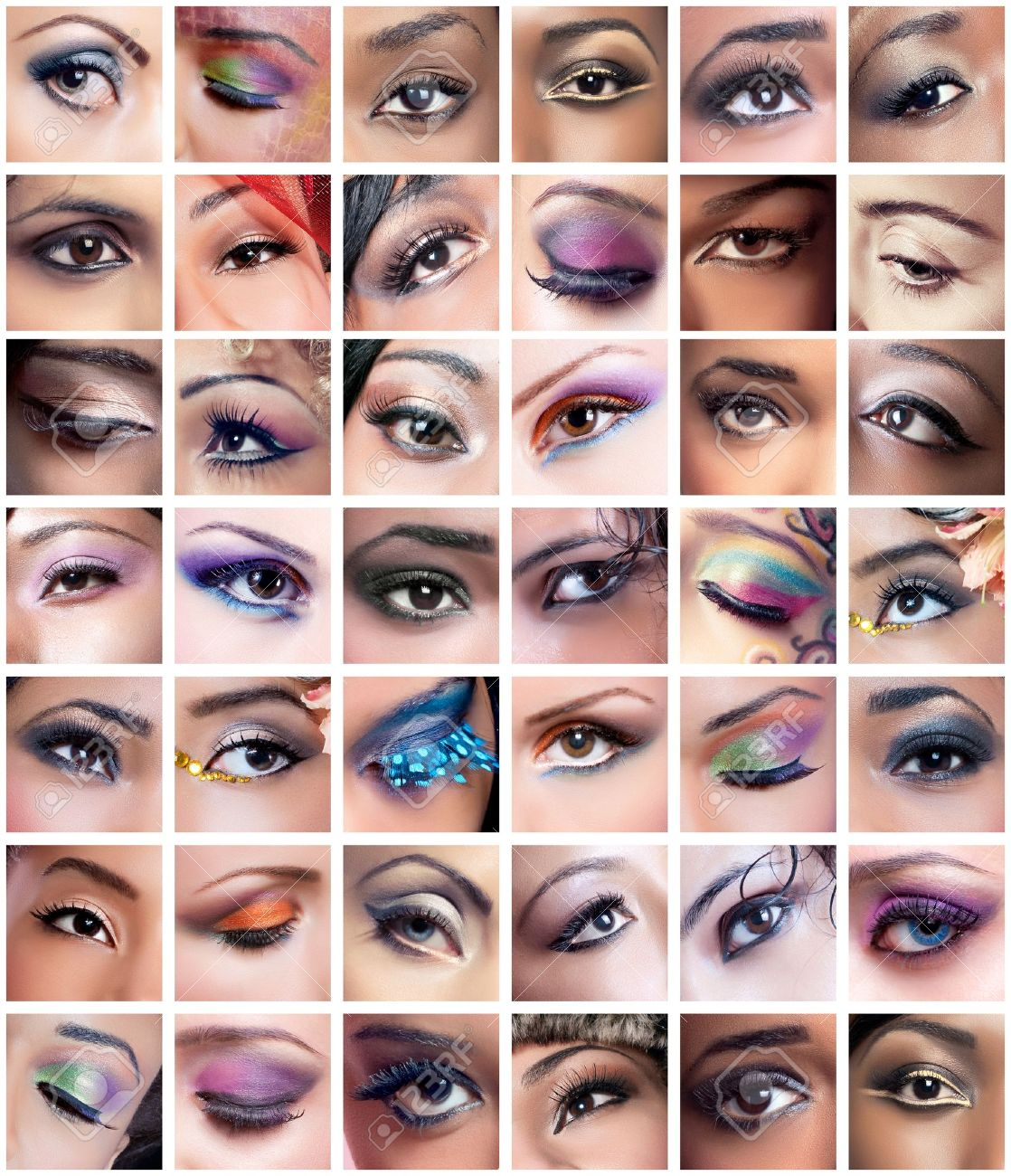 Collage of 42 eyes closeup images of women of different ethnicities (african, asian/indian, caucasian) with creative colorful makeups Stock Photo - 8849305