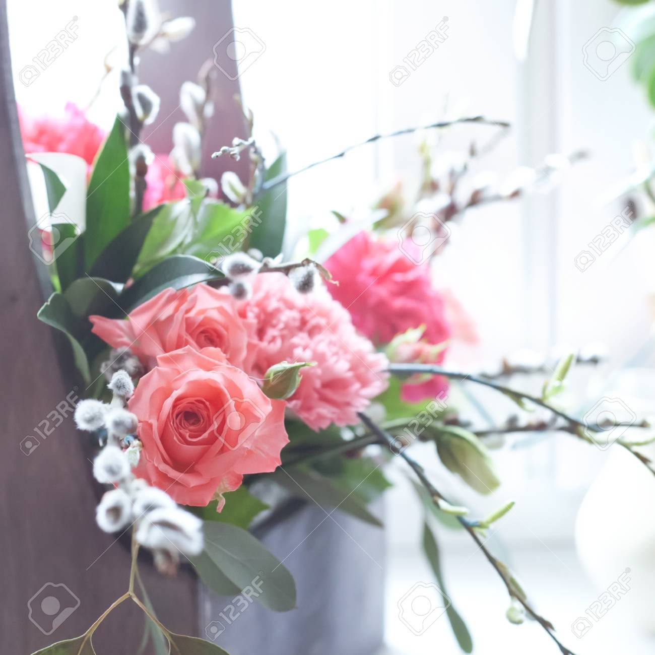 Beautiful Fresh Flowers In A Wooden Box Natural Light Setting