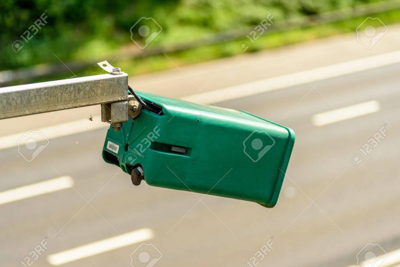 Day view of average speed traffic camera over UK Motorway