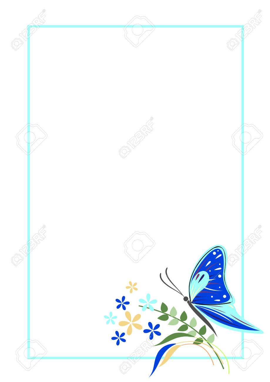 Vector Blank For Letter Or Greeting Card. Blue Form With Frame, Butterfly  And Flowers  Greeting Card Format