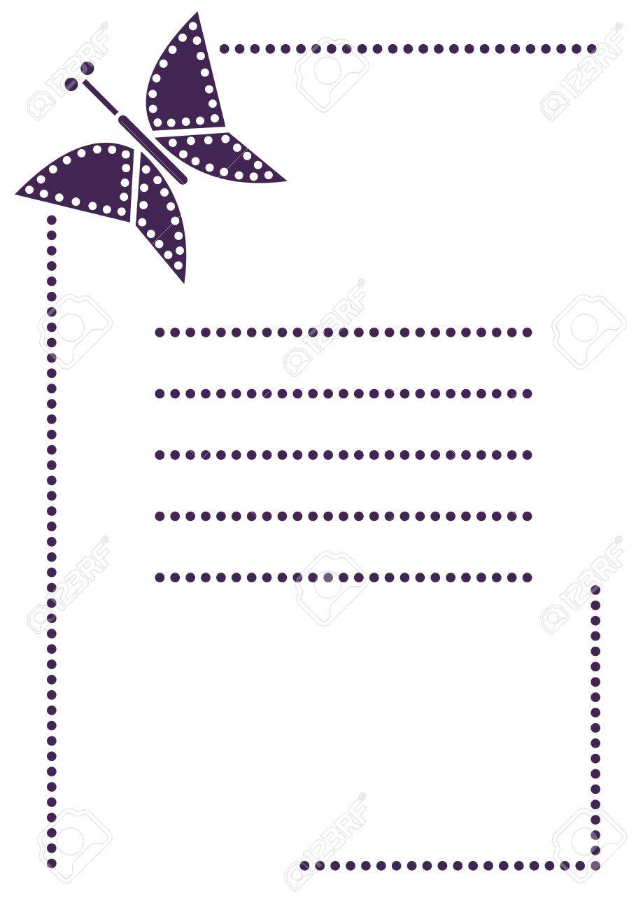 Vector blank for letter or greeting card simple form with frame vector vector blank for letter or greeting card simple form with frame lines and butterfly a4 format size m4hsunfo Images
