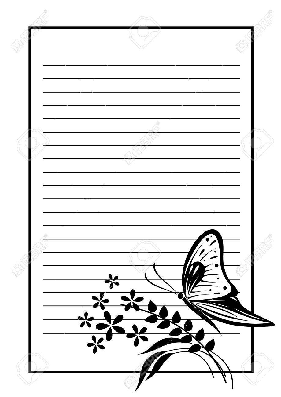 Vector Blank Für Brief Oder Grußkarte. Schwarz-Weiß-Form Mit Rahmen ...