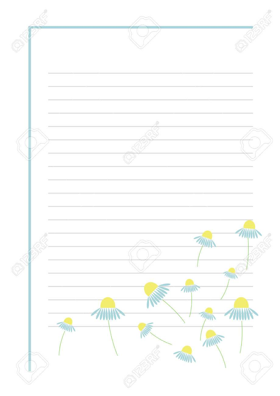 Vector Blank For Letter Or Greeting Card. Blue Form With Frame, Lines And  Flowers  Greeting Card Format