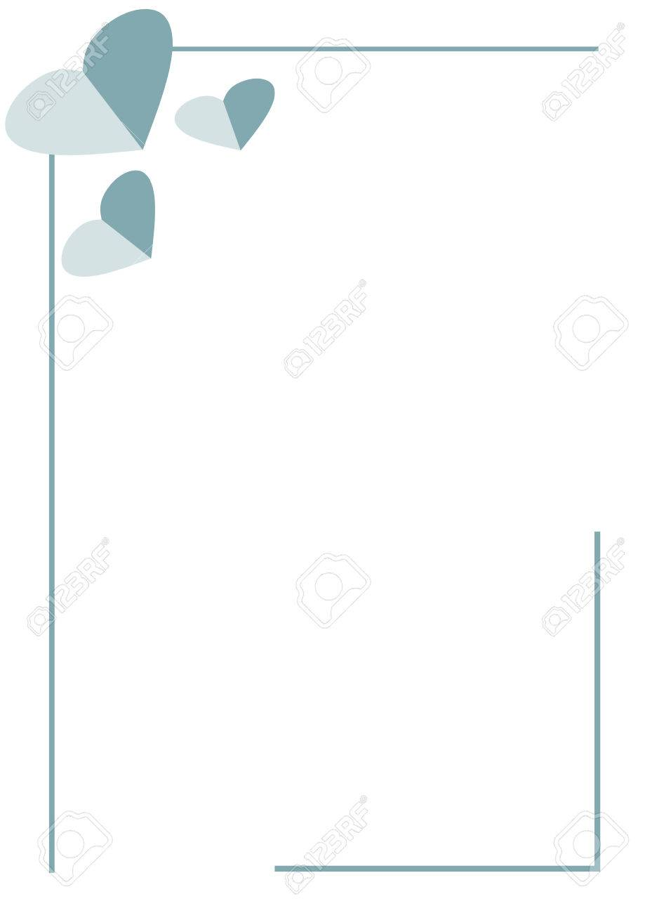 Vector Blank For Letter Or Greeting Card. White Paper Form With Blue Hearts  And Border  Greeting Card Format