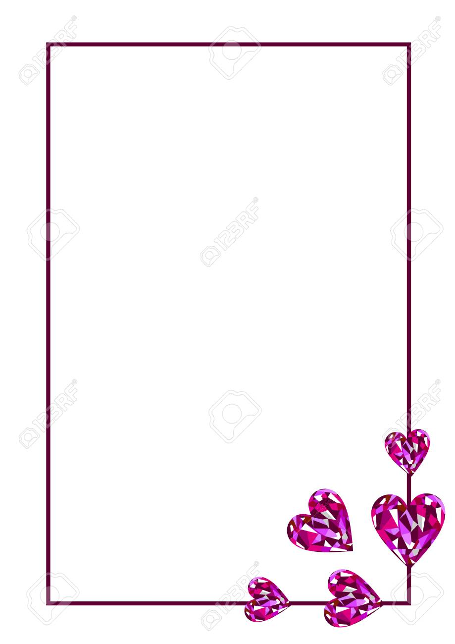 Vector blank for letter or greeting card white paper form with vector vector blank for letter or greeting card white paper form with pink gems in the shape of hearts and border a4 format size m4hsunfo Images