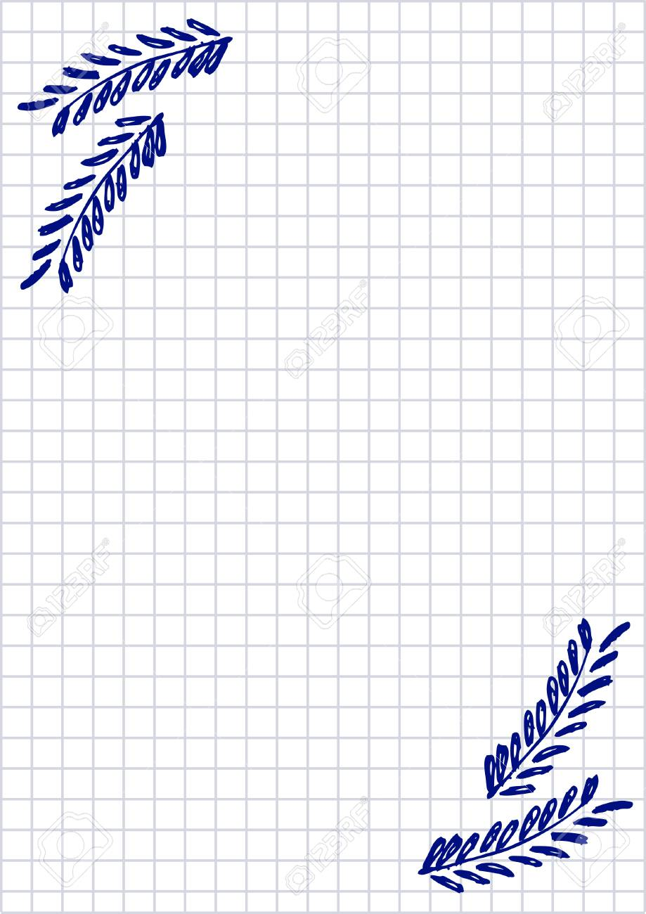 Vector blank for letter or greeting card checkered paper white vector vector blank for letter or greeting card checkered paper white squared form with hand drawn branch with leaves imitation of inc drawing m4hsunfo