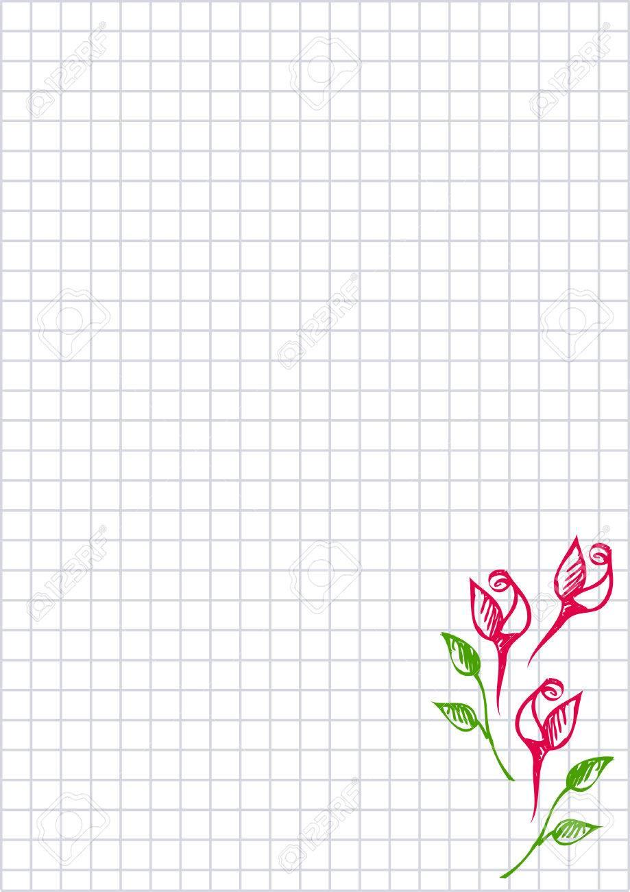 Vector Floral Blanc Pour Lettre Ou Carte De Voeux Papier Quadrille