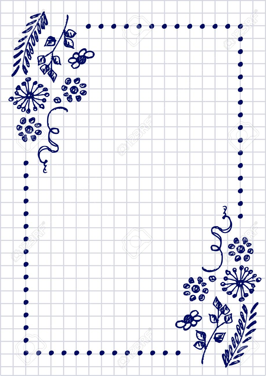 Vector Floral Blank For Letter Or Greeting Card Checkered Paper