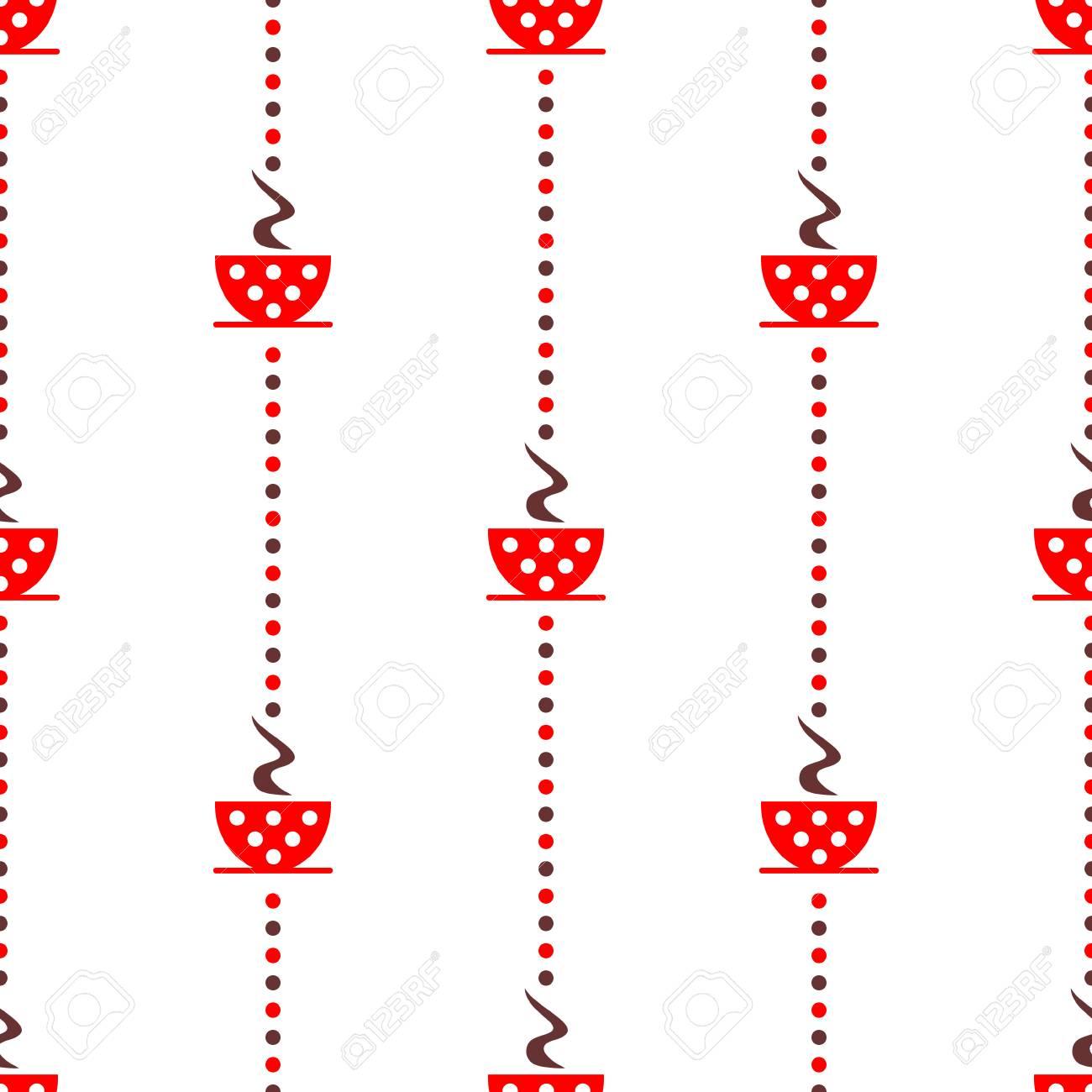 Patrón De Vectores Sin Fisuras Con Las Tazas De Café De Color Rojo ...