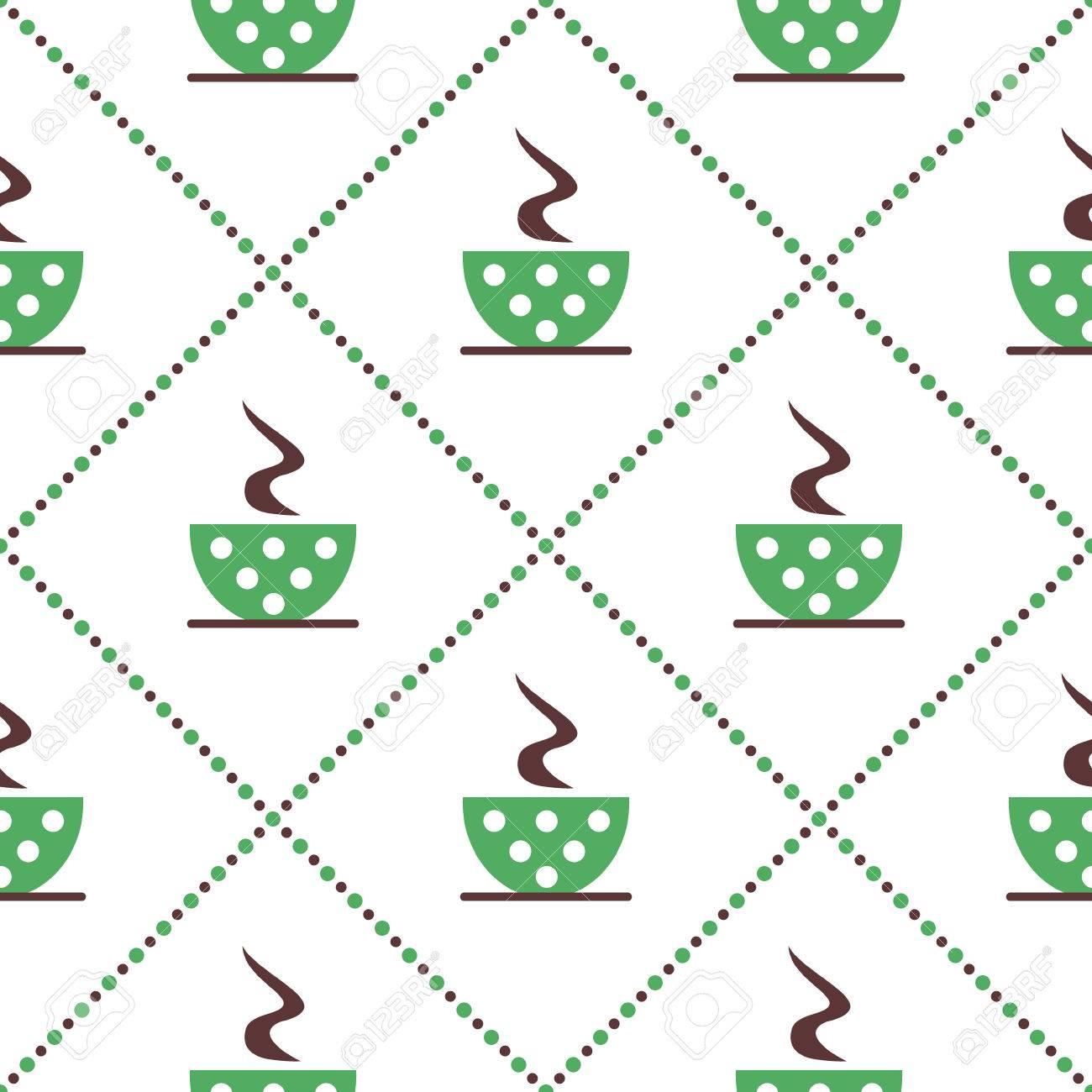 Modelo Inconsútil Del Vector Con El Primer De Las Tazas De Café ...