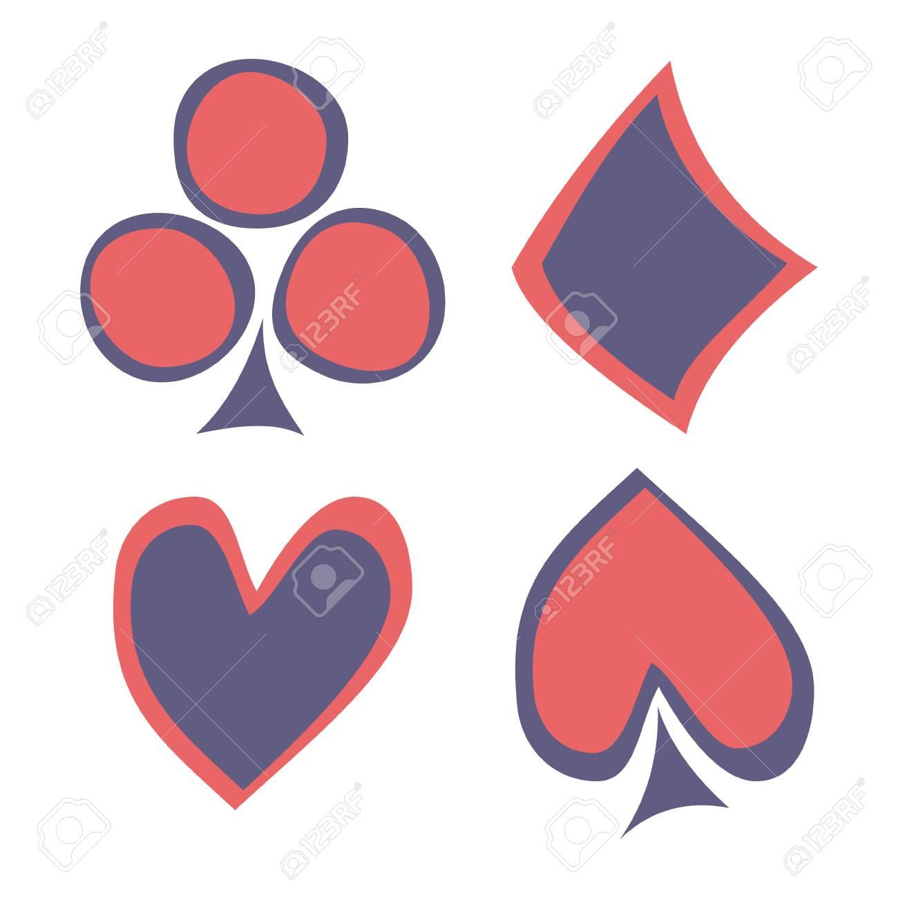 Vector set of playing card symbols hand drawn blue and red icons vector set of playing card symbols hand drawn blue and red icons isolated on the biocorpaavc