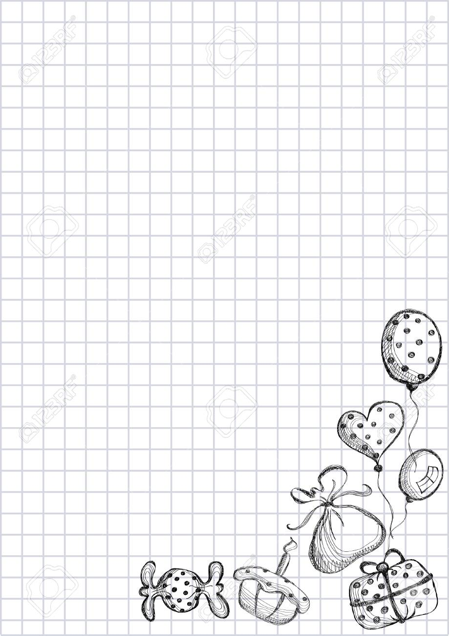 Vector Blank For Letter Or Greeting Card Checkered Paper White
