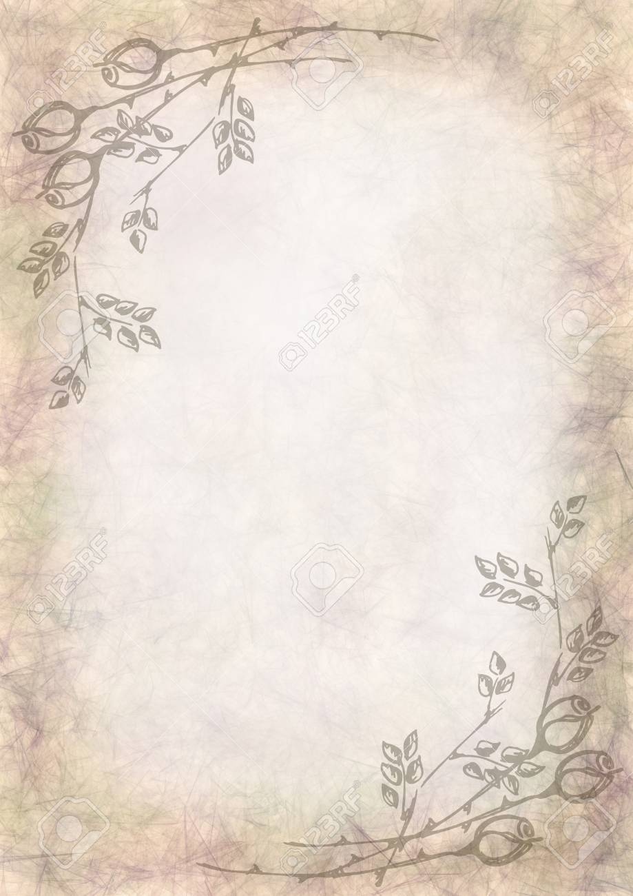 hand drawn textured floral backgroundcrumpled paper with rose and leaves template for letter