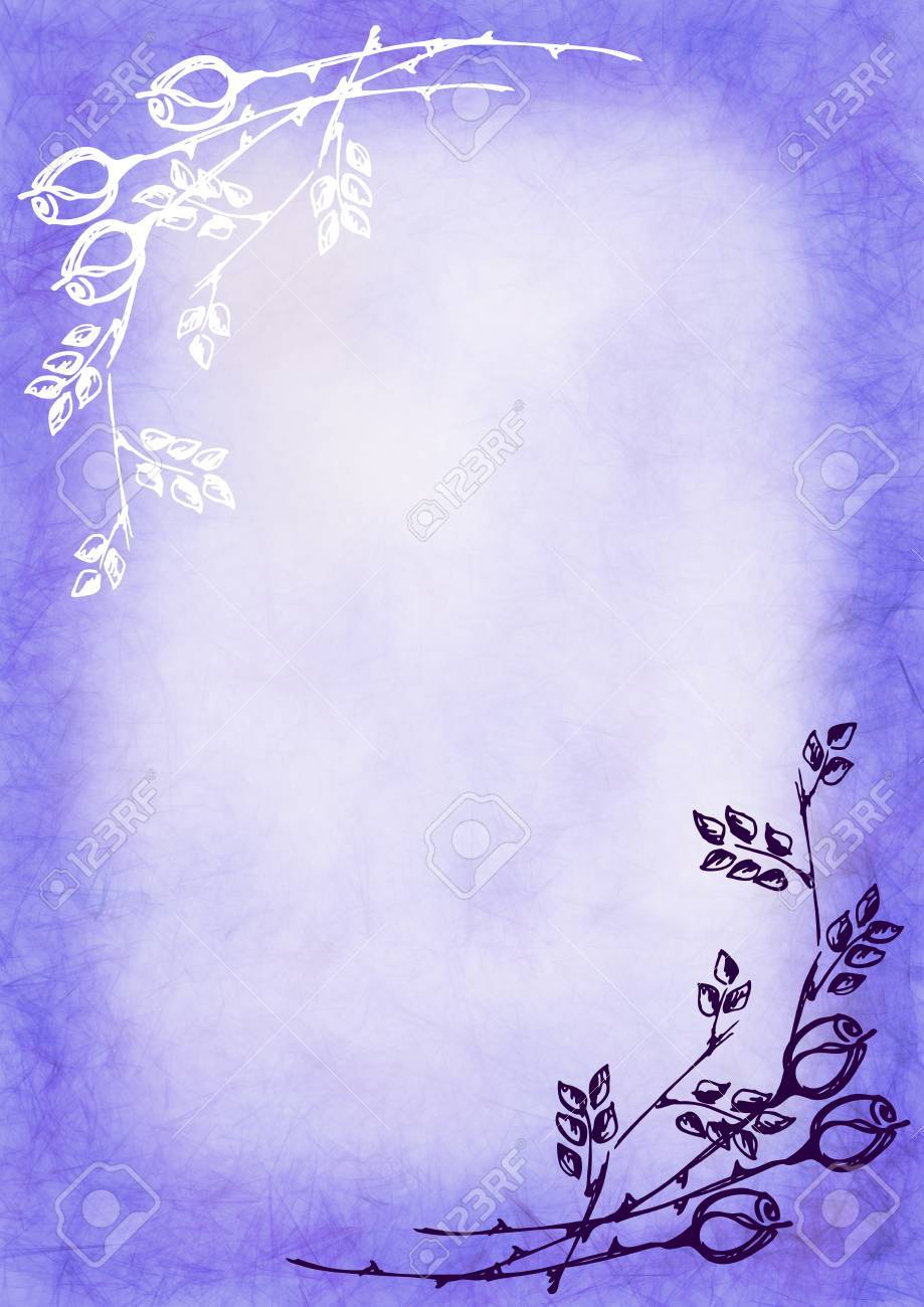 Hand Drawn Textured Floral Background In Blue Colors With Rose