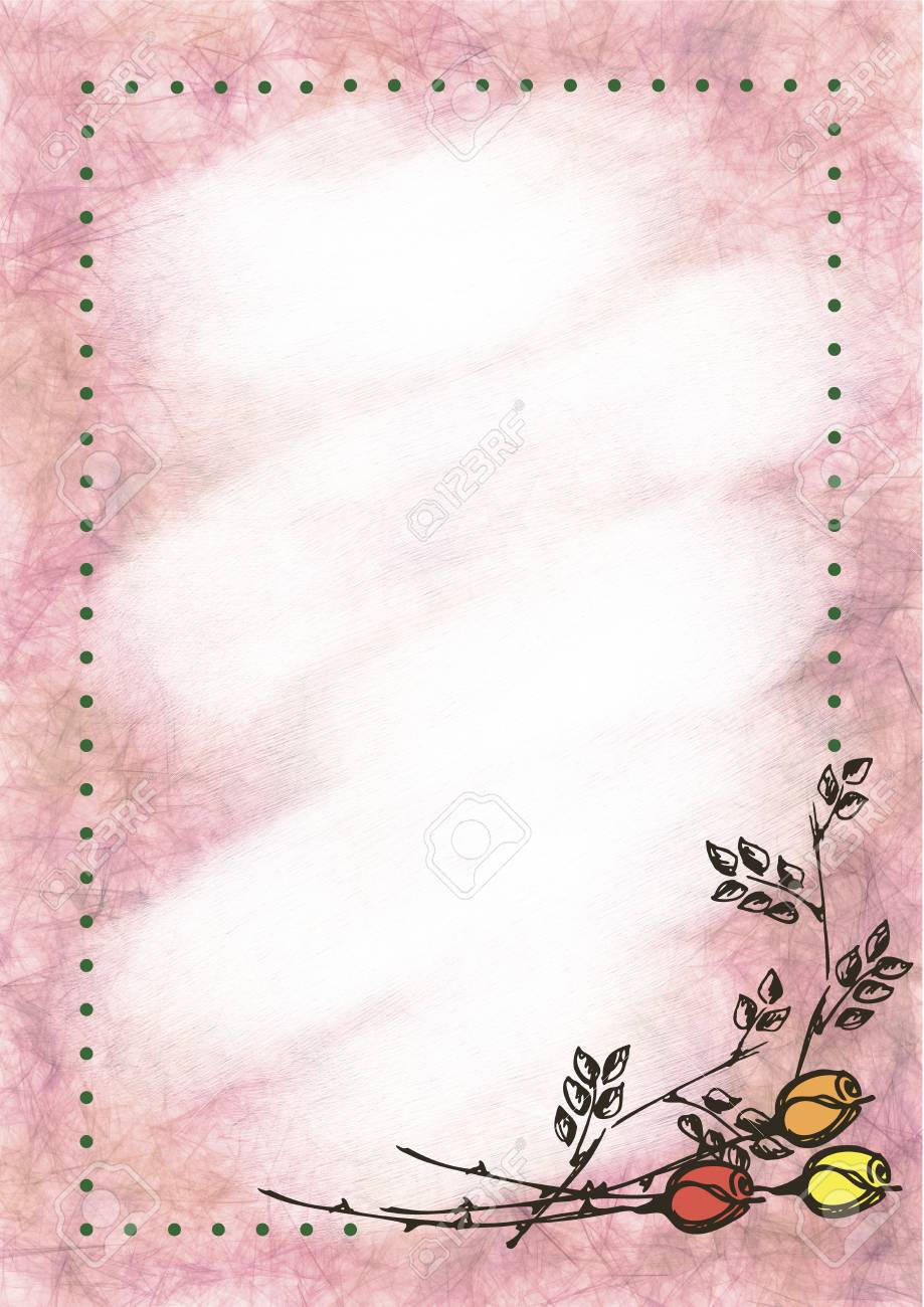 Hand drawn textured floral background  Vintage card with roses