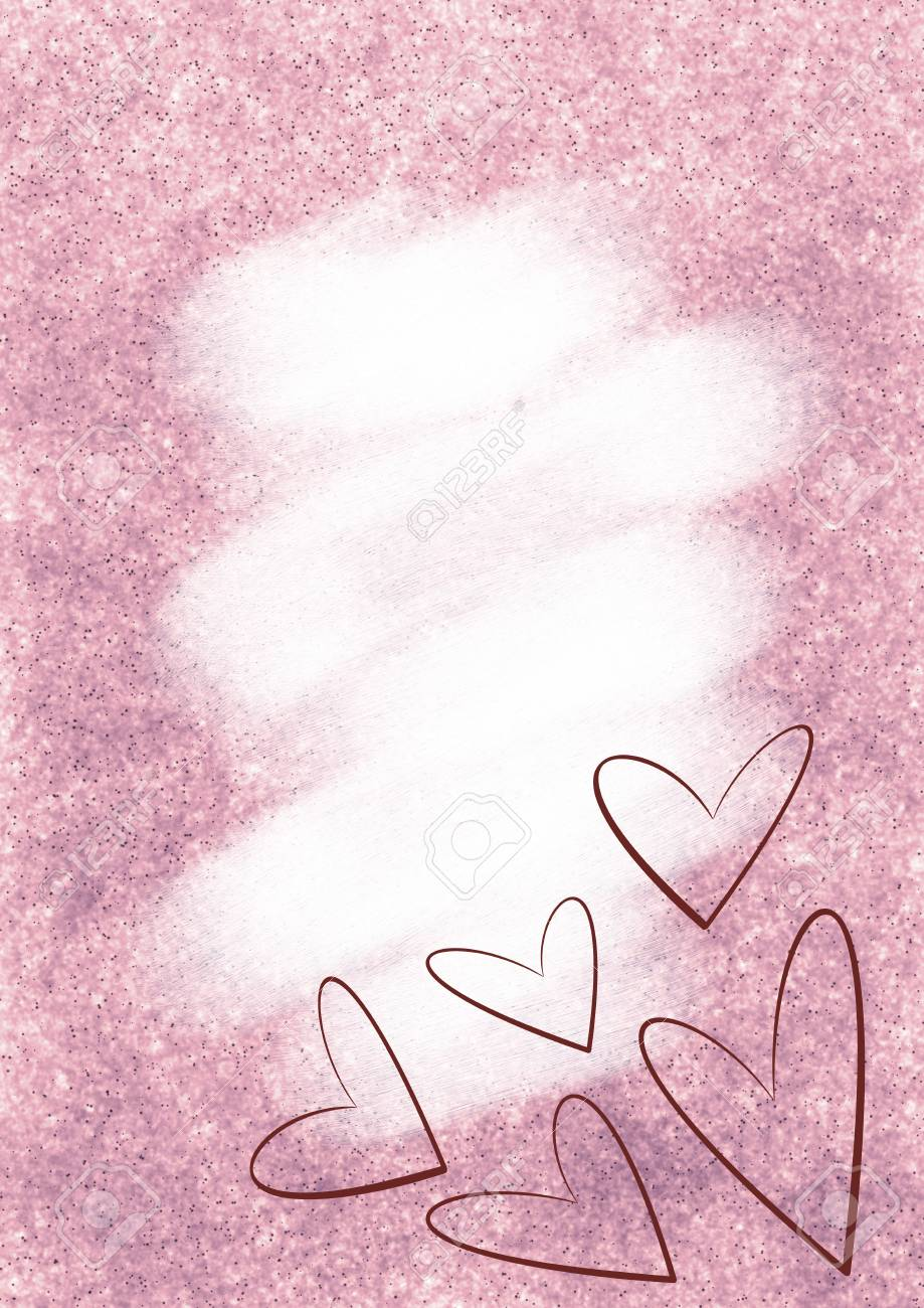 drawn watercolor background with brushstrokes and hearts template