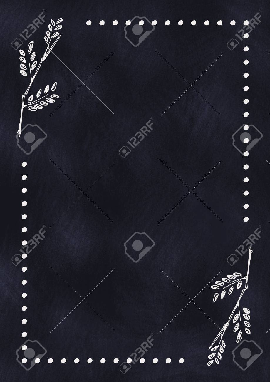 Hand Drawn Textured Floral Background In With Leaves On The Dark