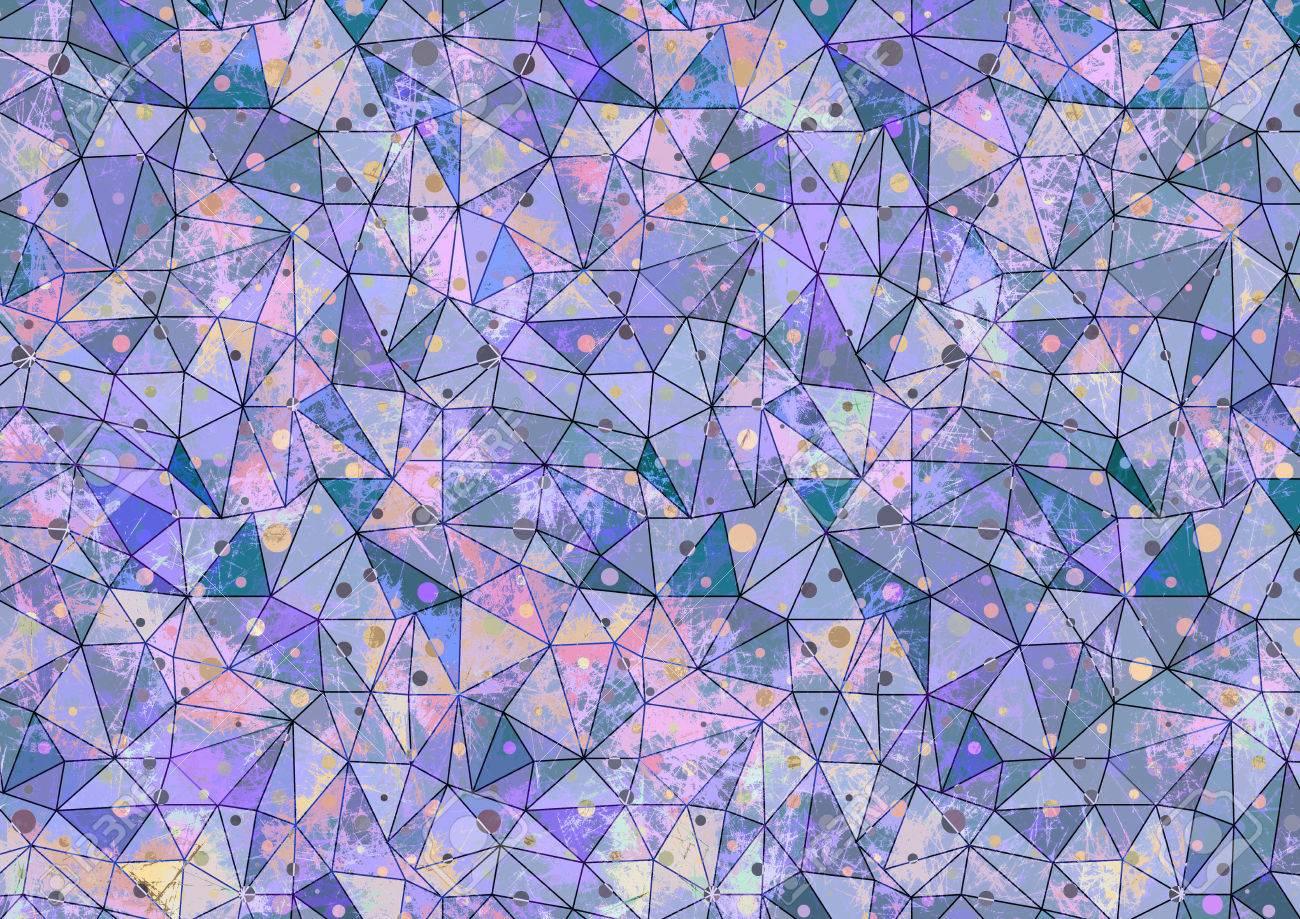描画の抽象的なカラフルな背景 ブルー ピンク色のドットで芸術的な壁紙 ステンド グラスの効果を折り紙多角形デザイン 描かれた芸術的な創造的な背景のシリーズ の写真素材 画像素材 Image