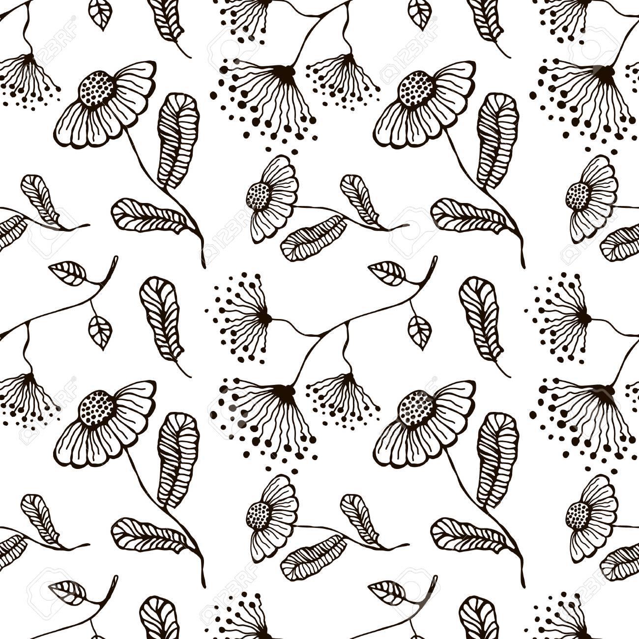 Patrón Floral Vector Transparente. Dibujado A Mano De Fondo Blanco Y ...