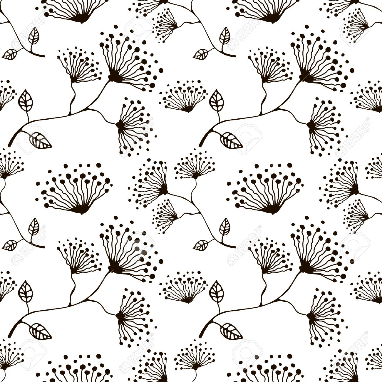 Seamless Vector Floral Pattern Hand Drawn Black And White