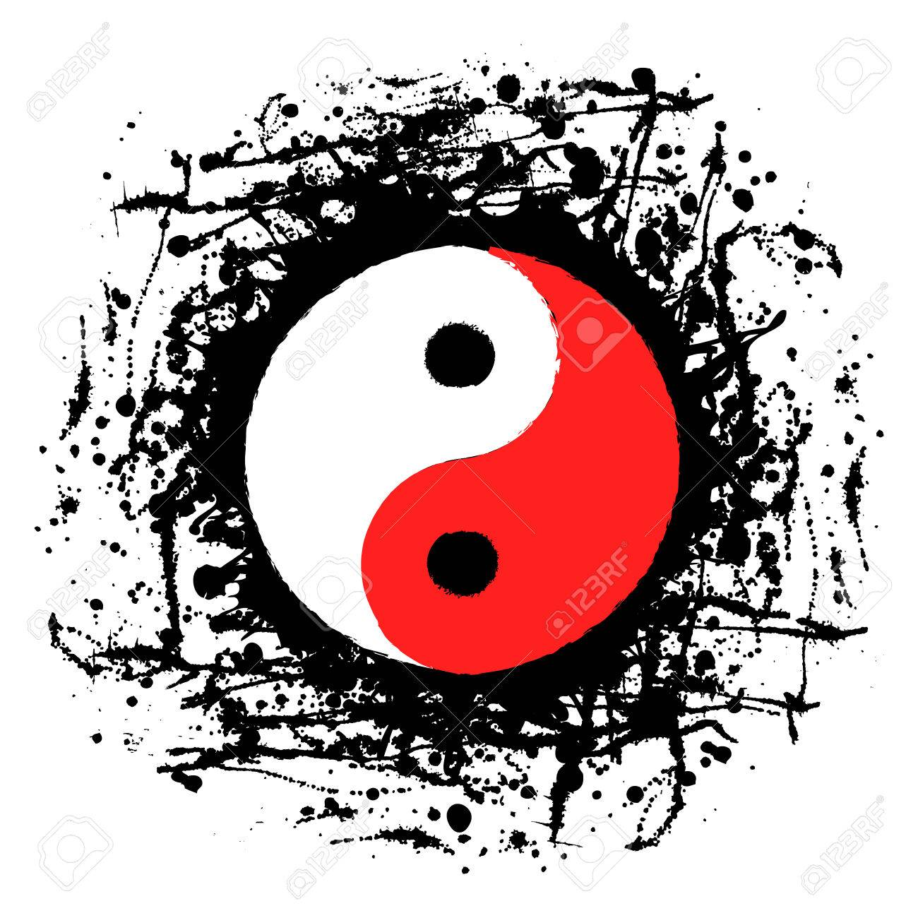 Vector vector black white red graphic illustration of sign of yin yang with ink blot brush strokes isolated on the white background