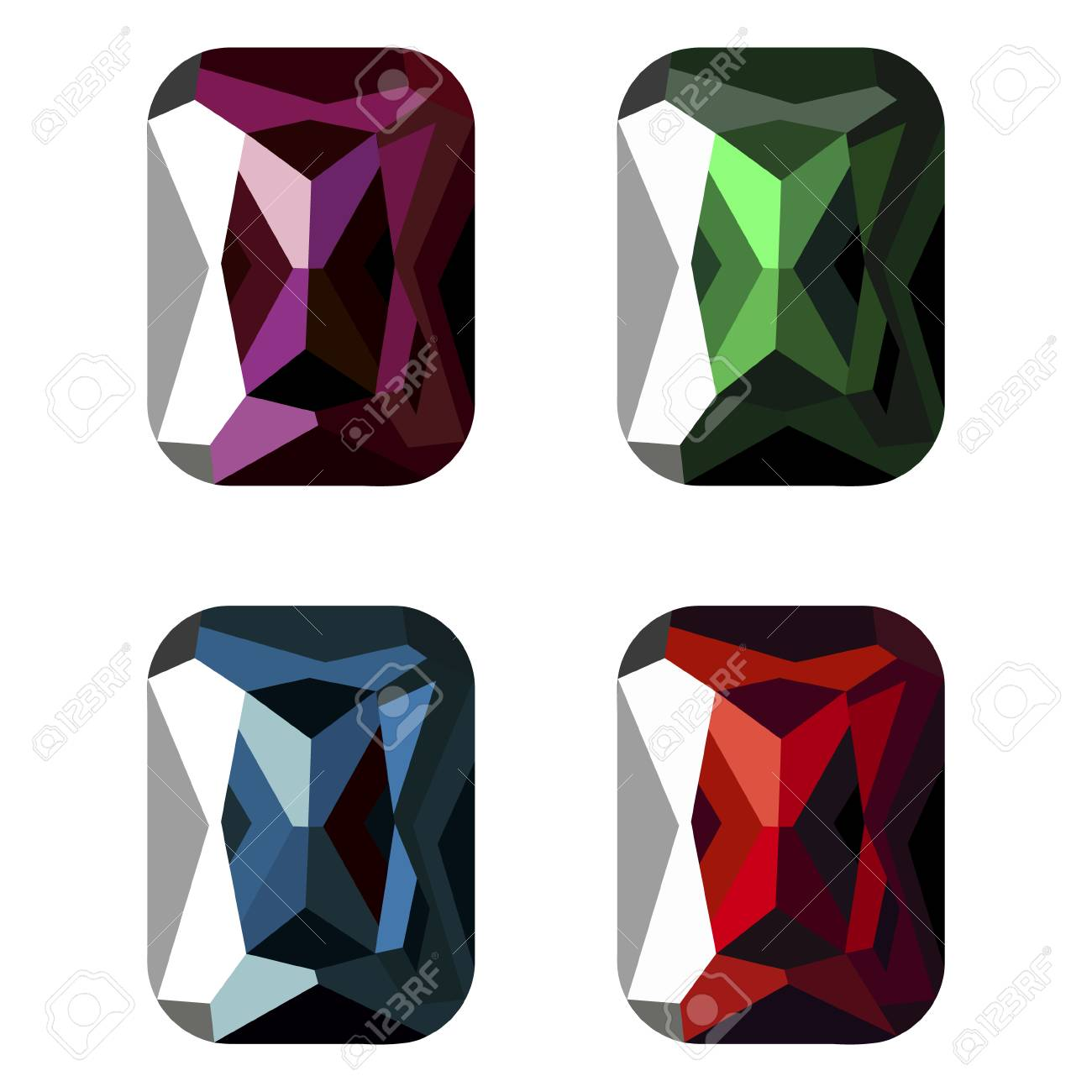 Set of vector illustration of gems, isolated over white background. Graphic illustration. - 62372375