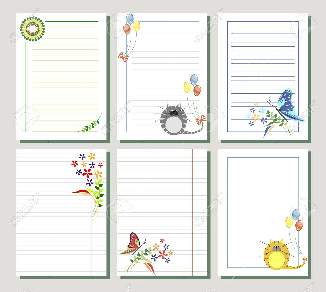 Set Of Vector Templates For Letter Or Greeting Card. Different ...