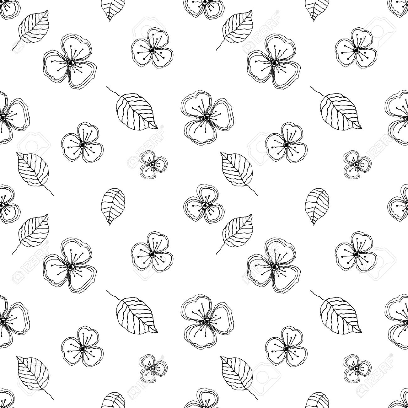 Seamless Vector Floral Pattern Black And White Hand Drawn