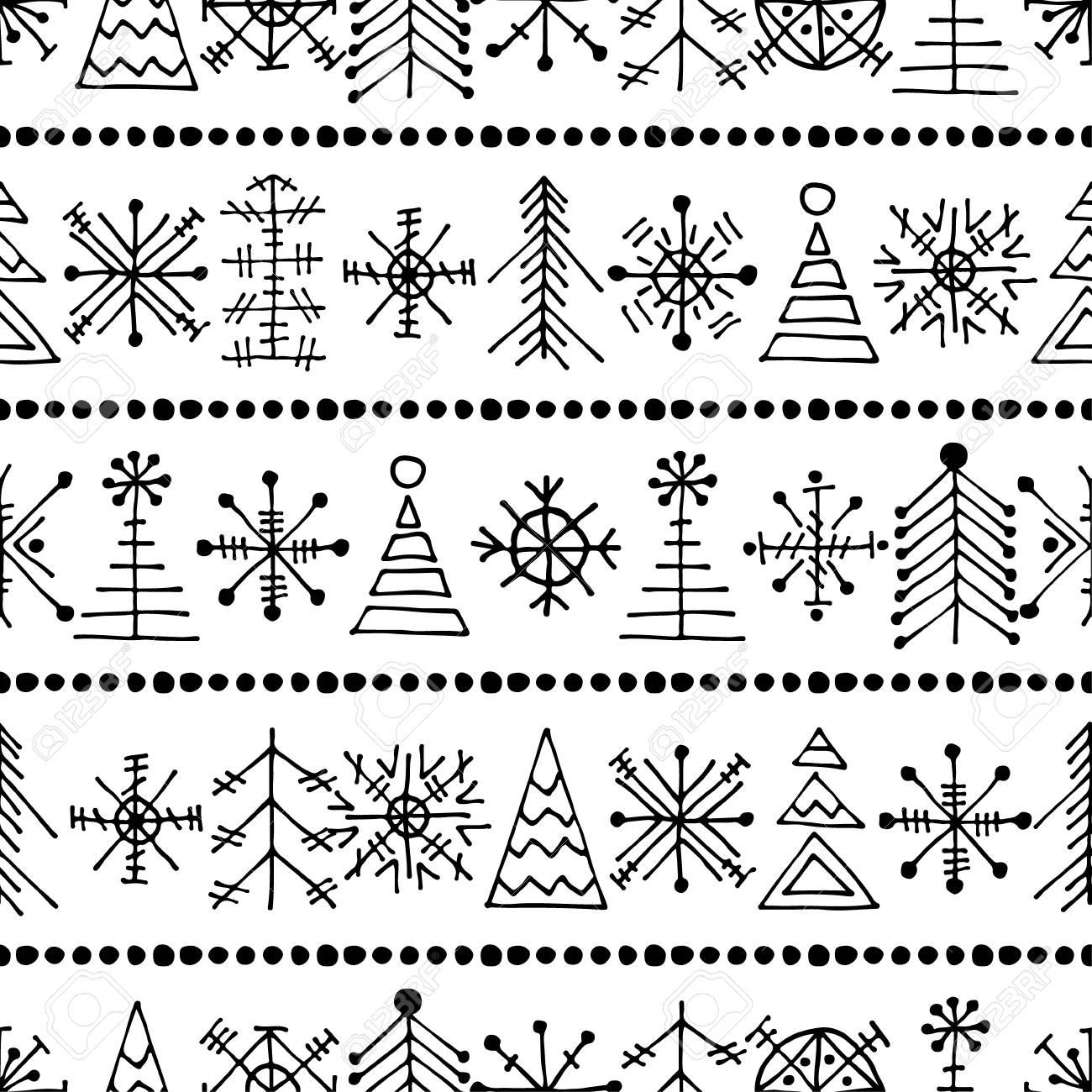 Seamless Vector Pattern Avec Des Arbres Et Des Flocons De Neige De Noël Noir Et Blanc De Fond Lhiver Avec La Main Décorative Dessiné Sapin