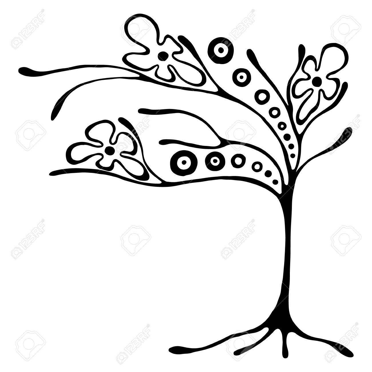 Vector Hand Illustration Dessinée Décoratif Arbre Stylisé Ornemental Noir Et Blanc Illustration Graphique Isolé Sur Le Fond Blanc Inc Dessin