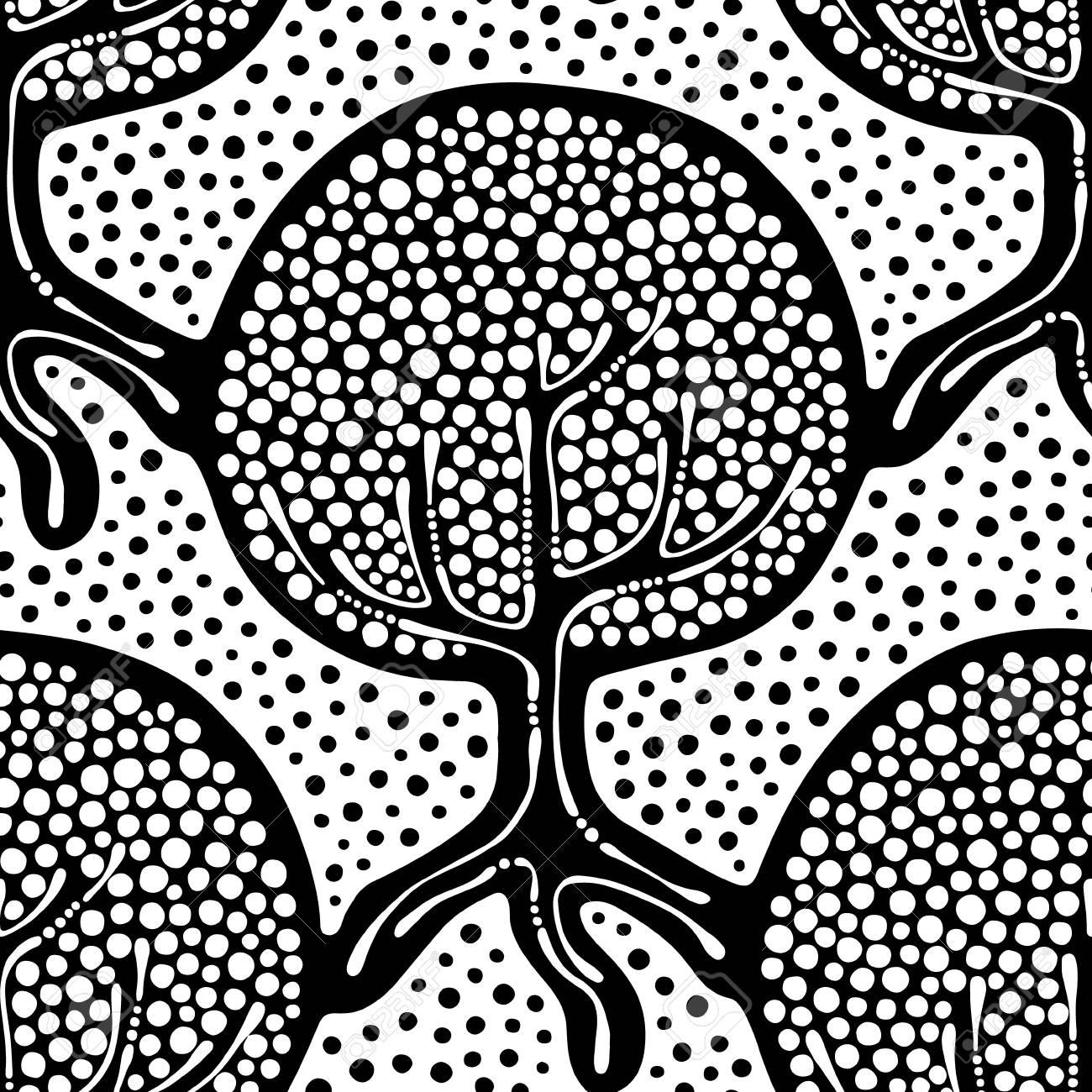 Seamless Répéter Illustration Décoration Dornement Arbres Sans Fin Stylisées Noir Et Blanc Abstraite Illustration Graphique Transparente