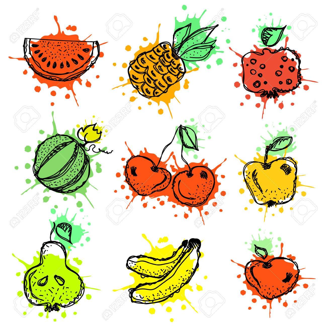 vector hand drawn fruits illustration of cherry watermelon rh 123rf com