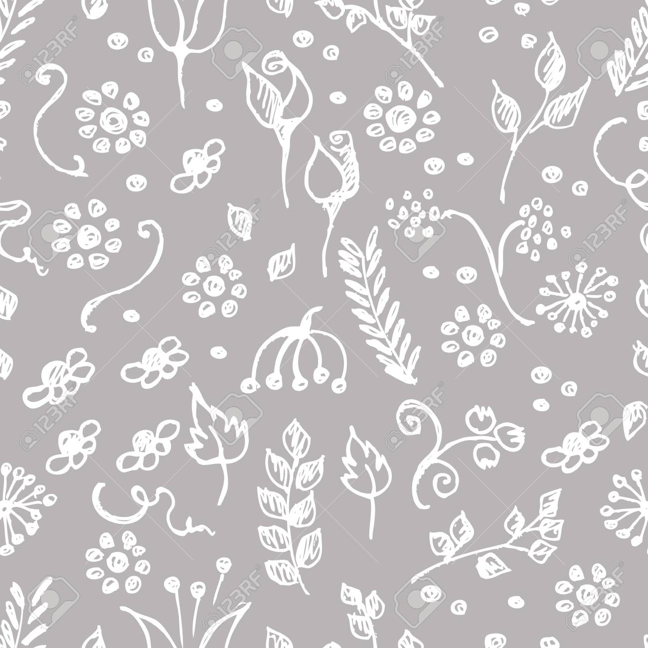 seamless vector pattern hand drawn background with flowers
