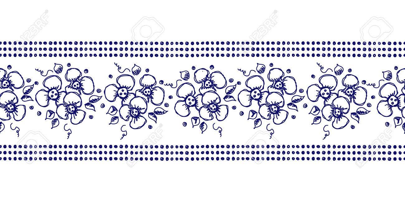 Vector Sin Costuras Dibujado A Mano Patrón Floral, Marco De Frontera ...