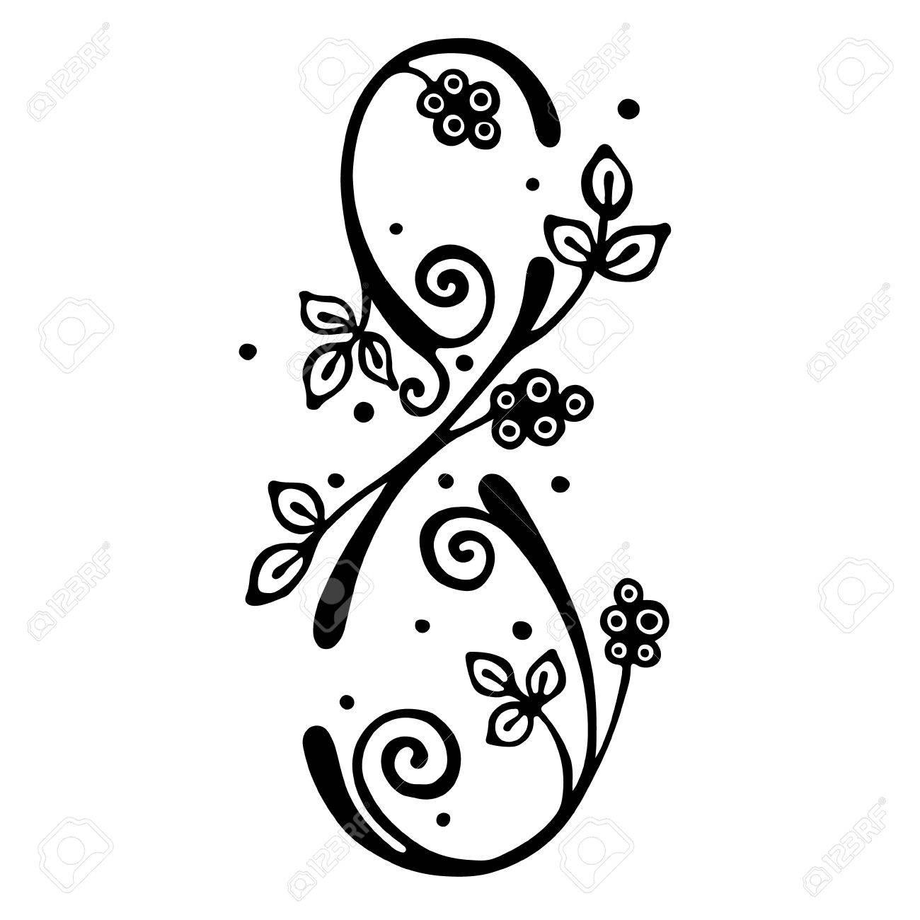 Vector Ilustração Desenhada A Mão Número Estilizado Decorativo Oito Em Forma De árvore Com Ramo Flores Deixa Ilustração Gráfica Isolada Em Preto E
