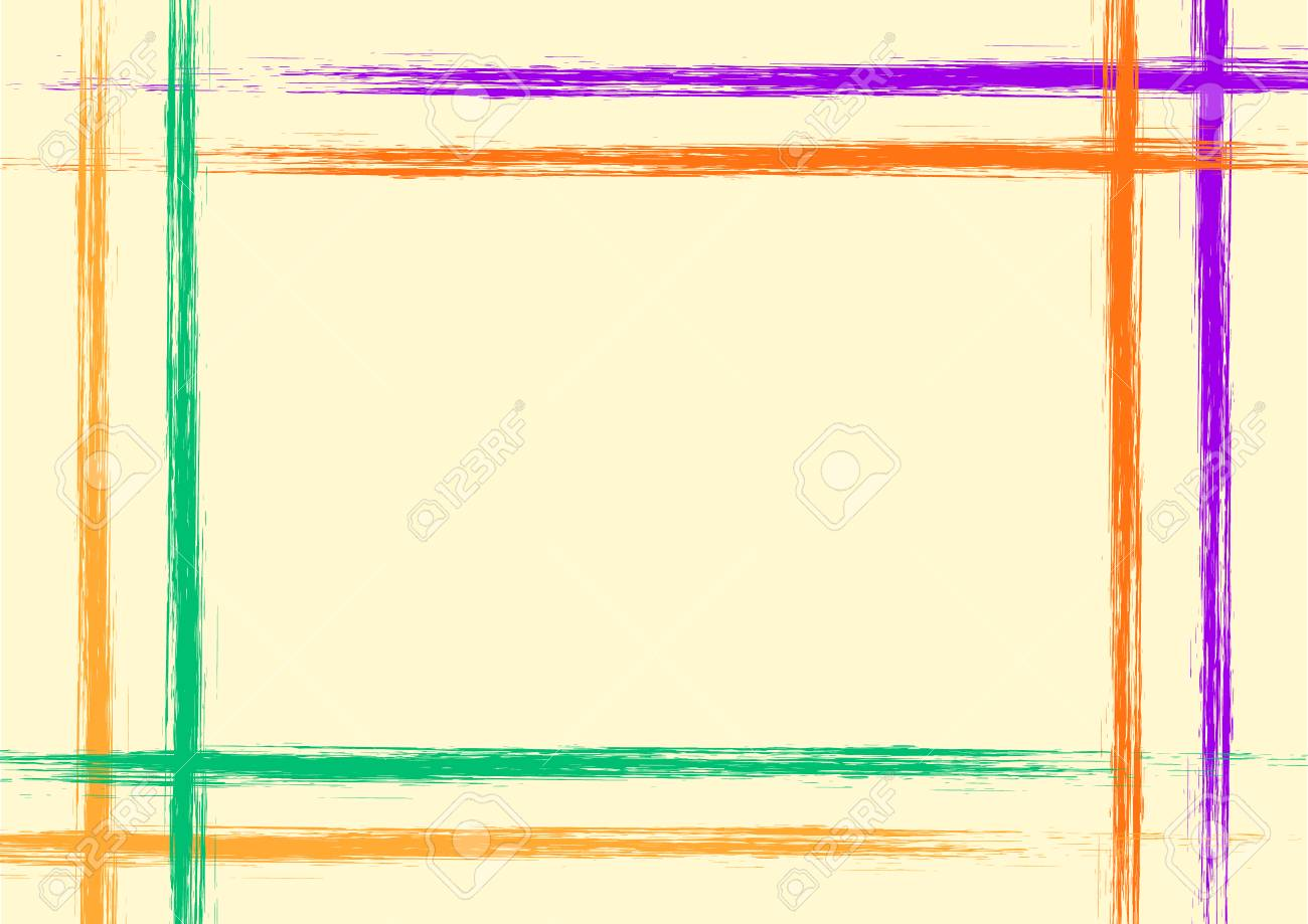 Vector Drawn Background With Frame Border Grunge Yellow Template